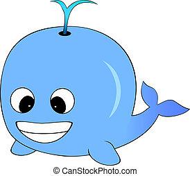 Cute Blue Cartoon Whale - Vector Illustration of A Cute Blue...