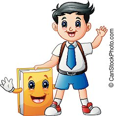 A cute boy in a school uniform with book cartoon character