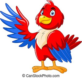 A Cute cartoon macaw waving