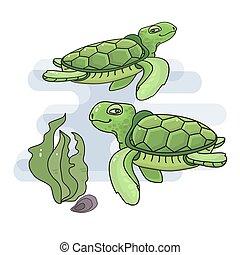 Vector illustration of a cute cartoon sea turtle.