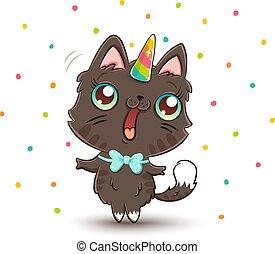 cute cat with unicorn horn