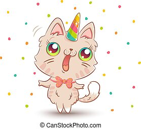 cute cat with unicorn horn - Vector illustration of a cute...