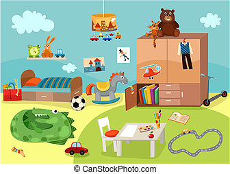 vector illustration of a cute chilgrens room