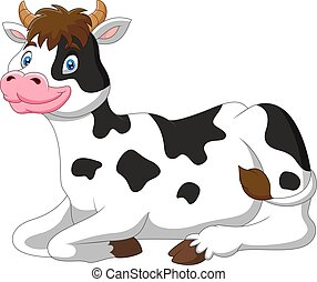A cute cow is sitting