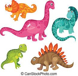 dinosaur set - vector illustration of a cute dinosaur set