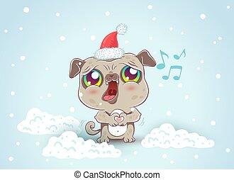 Pug on snow in kawaii style