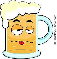 cute drunk beer mug - vector illustration of a cute drunk ...