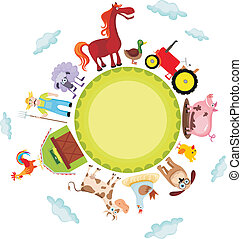 farm - vector illustration of a cute farm card