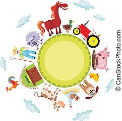 vector illustration of a cute farm card