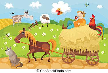 farm - vector illustration of a cute farm card