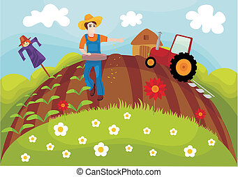 vector illustration of a cute farm