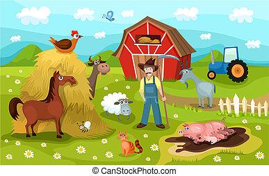 vector illustration of a cute farm