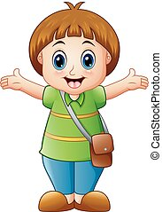 A cute girl cartoon waving hands