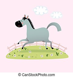 Vector illustration of a cute gray horse running in the grass.