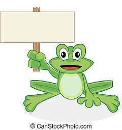 Vector illustration of a cute happy looking tiny green frog with big eyes. No gradient. Place your text in the empty sign.