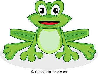 Vector illustration of a cute happy looking tiny green frog with big eyes. No gradient.