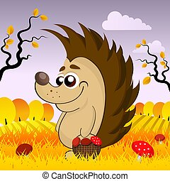 cute hedgehog in the woods in the fall