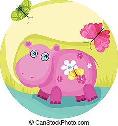hippo - vector illustration of a cute hippo