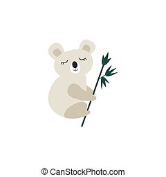 Vector illustration of a cute koala bear isolated on a white background.