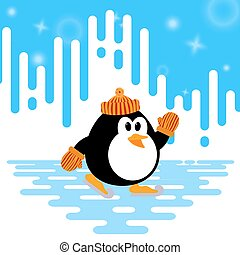 Vector illustration of a cute little penguin ice skating on abstract winter striped background. Winter sport. Penguin engaged in skating