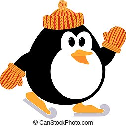 Vector illustration of a cute little penguin in a knitted cap and mittens skating. Winter sport.