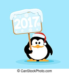 Vector illustration of a cute little penguin with the tablet 2017. Symbol of the coming New