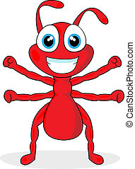 vector illustration of a cute little red ant. No gradient.