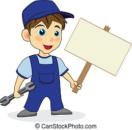 cute mechanic boy with wood sign - vector illustration of a ...