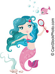 mermaid - vector illustration of a cute mermaid