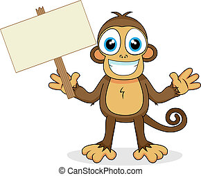 vector illustration of a cute monkey with wood sign. No gradient