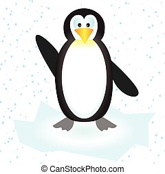 Vector illustration of a cute penguin on the ice floe with snow
