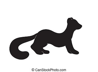 cute pine marten silhouette - Vector illustration of a cute...
