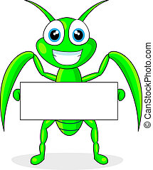 vector illustration of a cute praying mantis holding a blank sign. No gradient