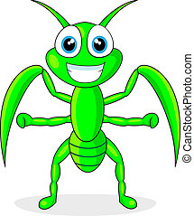 vector illustration of a cute praying mantis. No gradient