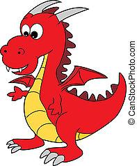 Cute Red Cartoon Happy Dragon Character - Vector...