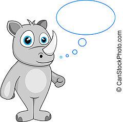 cute rhino in thought