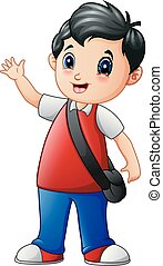 A cute school boy cartoon go to school
