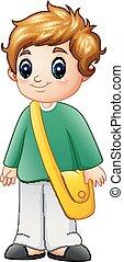 A cute school boy cartoon