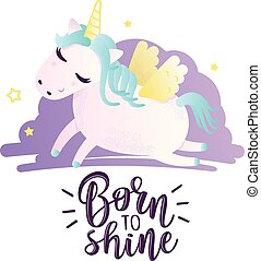 """Greeting card with """"Born to shine"""" inscription"""