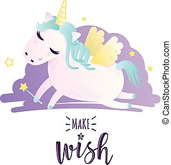 """Greeting card with """"Make a wish"""" inscription"""