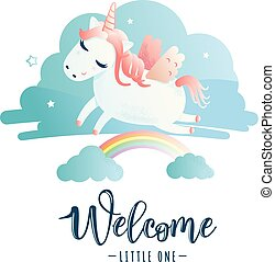 """Greeting card with """"Welcome little one"""" inscription"""