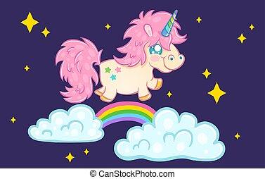 unicorn with rainbow and stars