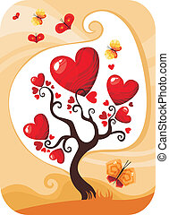 valentine card - vector illustration of a cute valentine...