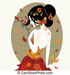 Vector illustration of a cute woman in autumn dress