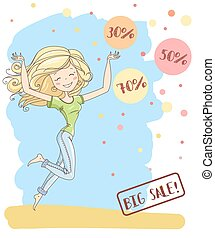 Vector illustration of a cute young girl with long hair. Big sale