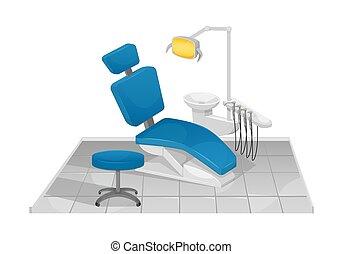 Vector illustration of a dental chair. Dentist's office. Dental clinic.