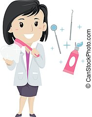 Dentist Woman with elements