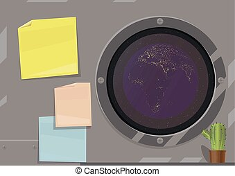Vector illustration of a desktop on a spaceship, gray metal wall with multi-colored stickers, the image of the planet Earth in a dark window, a green cactus in the corner.