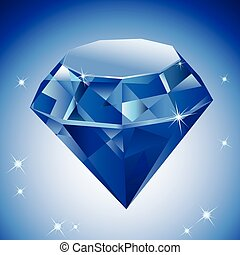 Vector Illustration of a diamond on blue background.
