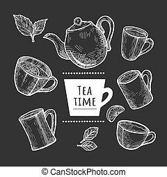different tea cups and pot set